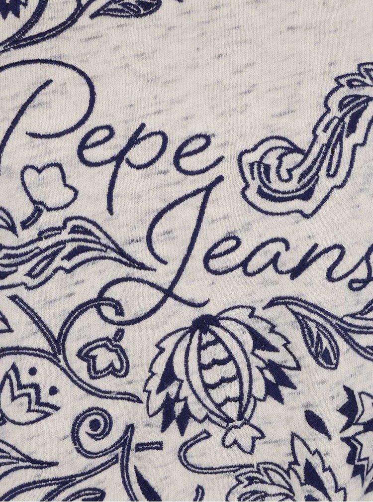 Bluza crem Pepe Jeans Beatriz cu imprimeu