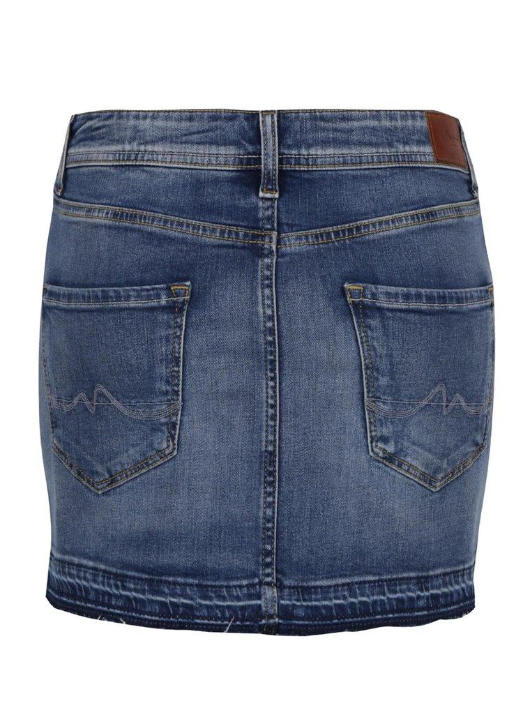 Modrá džínová vyšisovaná sukně Pepe Jeans Olivia