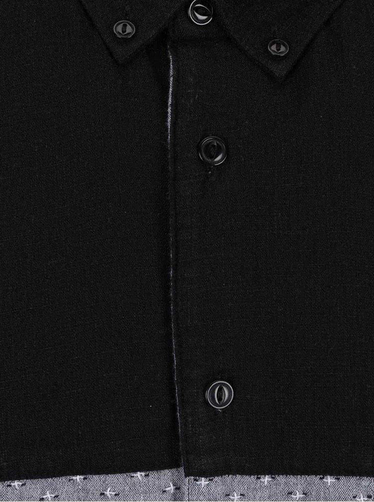 Cămașă gri cu negru Lindbergh cu mâneci scurte
