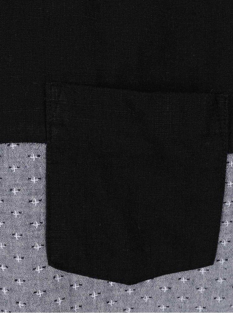 Černo-šedá vzorovaná košile s příměsí lnu Lindbergh