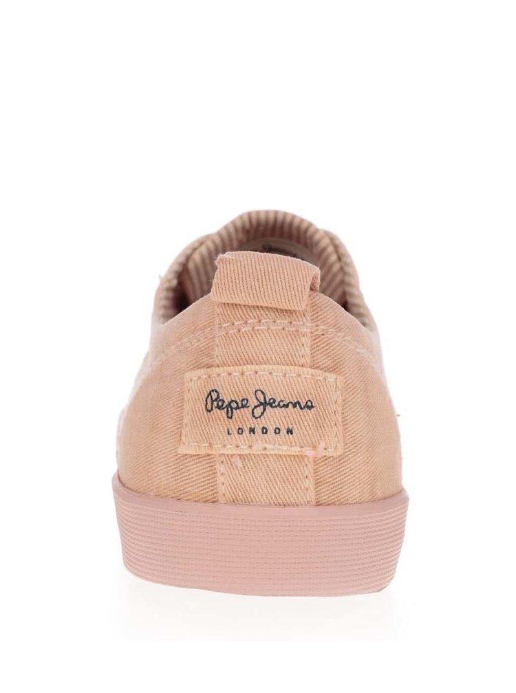 Starorůžové dámské tenisky s detaily Pepe Jeans Julia Monocrome