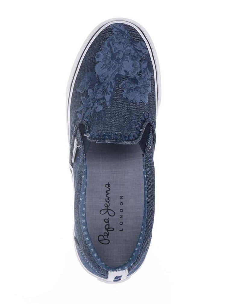 Modré dámské denimové slip on tenisky s detaily Pepe Jeans Alford Soul