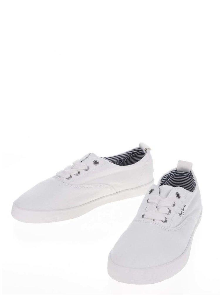 Pantofi sport albi Pepe Jeans Julia Monocrome