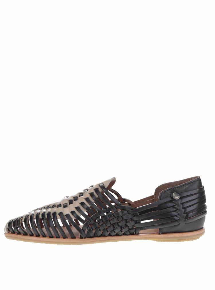 Černo-krémové dámské kožené mokasíny Pepe Jeans Melrose