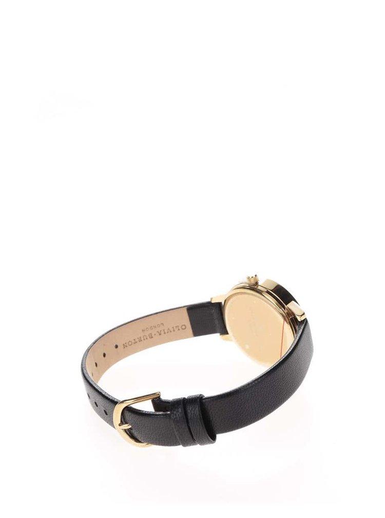 Hodinky ve zlaté barvě s černým koženým páskem Olivia Burton