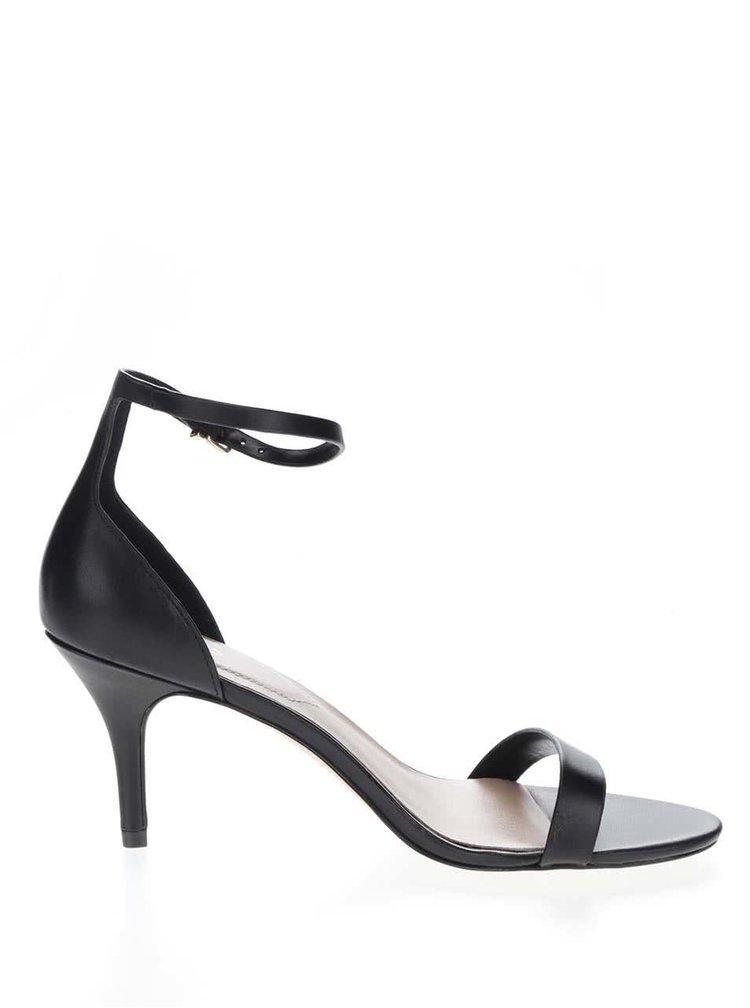 Černé kožené sandálky na jehlovém podpatku ALDO Zenavia