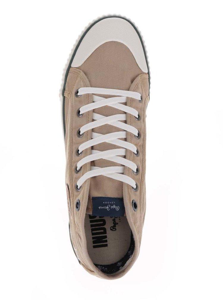 Béžové pánské žíhané tenisky s logem Pepe Jeans Industry Earth