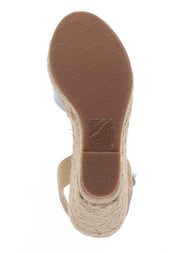 Světle modré dámské džínové sandály na klínku Pepe Jeans Kinney
