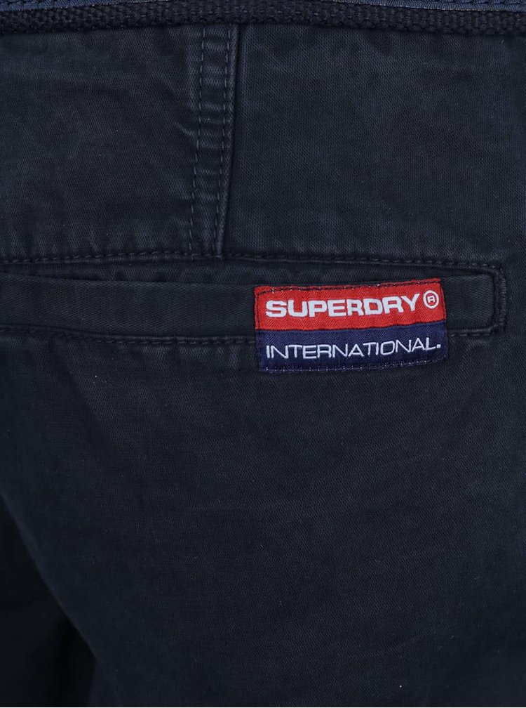 Pantaloni scurti bleumarin Superdry cu curea