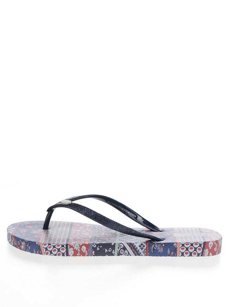 Șlapi albaștri Pepe Jeans Rake Gypset cu imprimeu floral