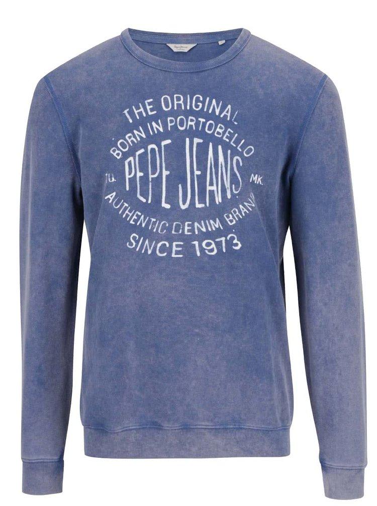 Modrá pánská mikina s potiskem Pepe Jeans Depel