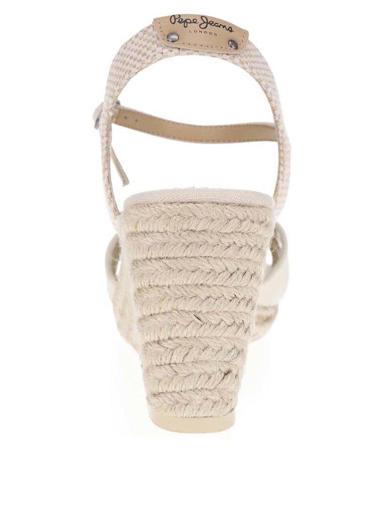 Krémové sandály na klínku Pepe Jeans Shark Basic