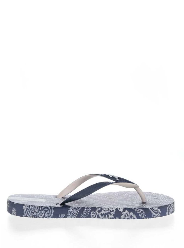 Șlapi albaștri Pepe Jeans Rake Scarf cu imprimeu floral