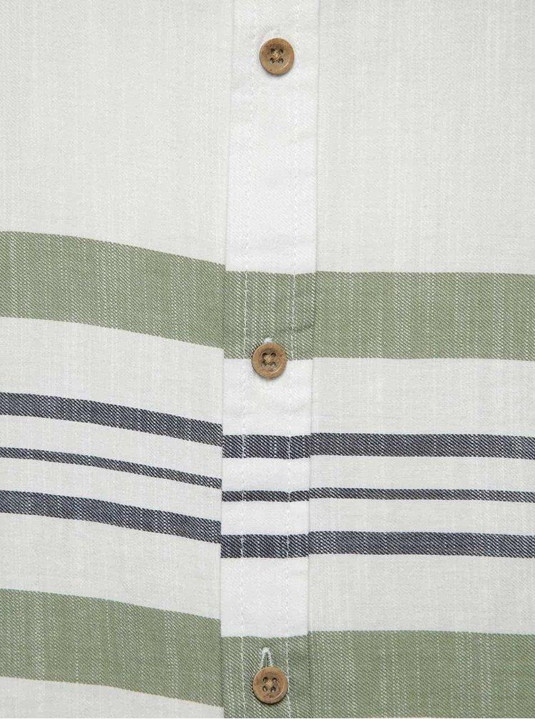 Zeleno-krémová pruhovaná košile ONLY & SONS Constantin