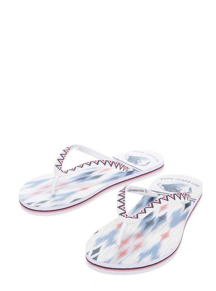 Bílé dámské vzorované žabky Pepe Jeans Rake Ikat