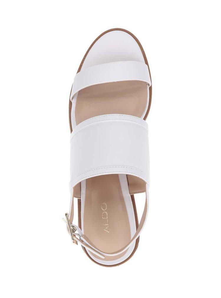 Bílé dámské kožené sandály na platformě ALDO Jin
