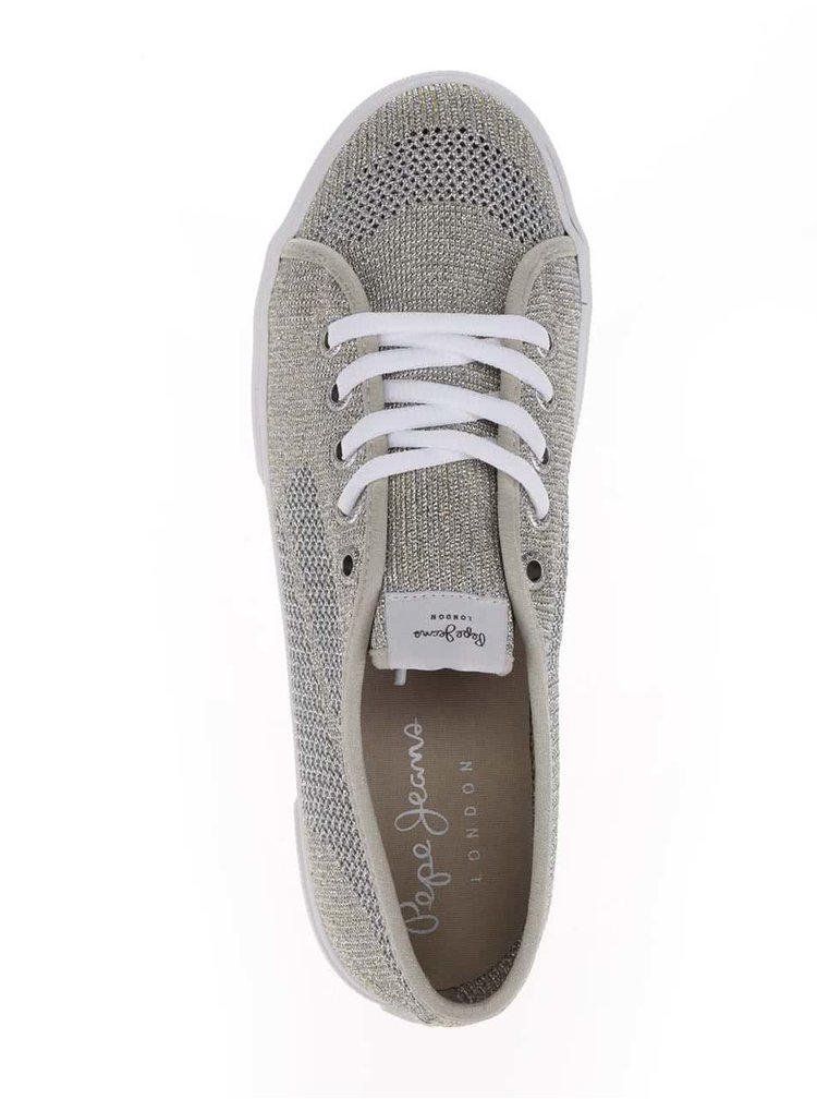 Dámské perforované tenisky ve zlato-stříbrné barvě Pepe Jeans Aberlady Fishnet
