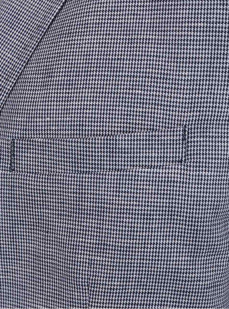 Krémovo-modré vzorované lněné sako Selected Homme Done-Hound