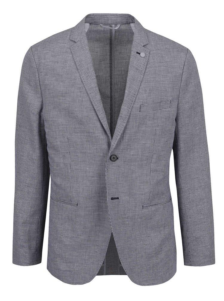 Sacou crem & albastru Selected Homme Done-Hound skinny fit cu model discret