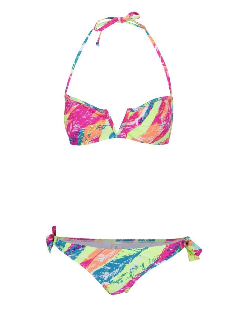 Žluto-růžové vzorované dvoudílné plavky Relleciga