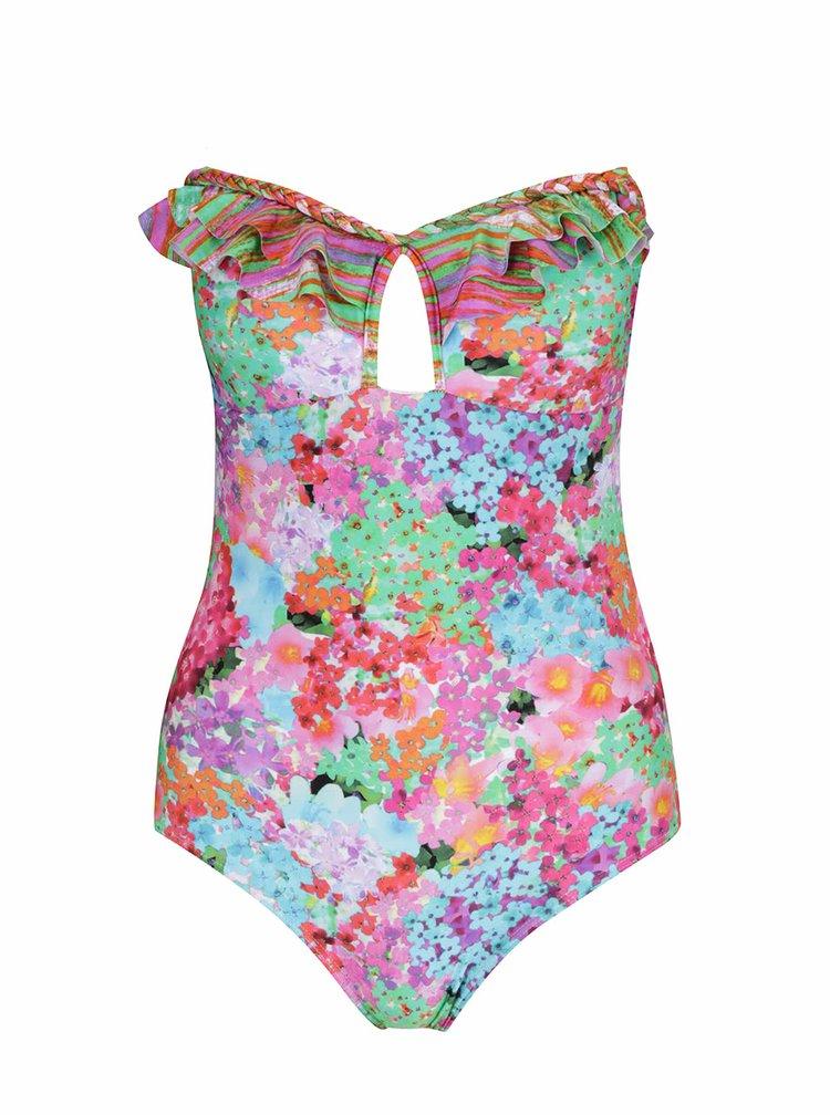 Zeleno-růžové jednodílné květované plavky Relleciga