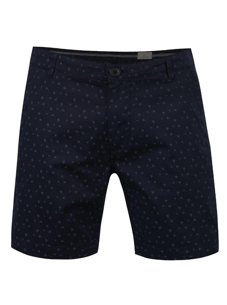 Pantaloni scurti albastru inchis Selected Homme Paris cu model