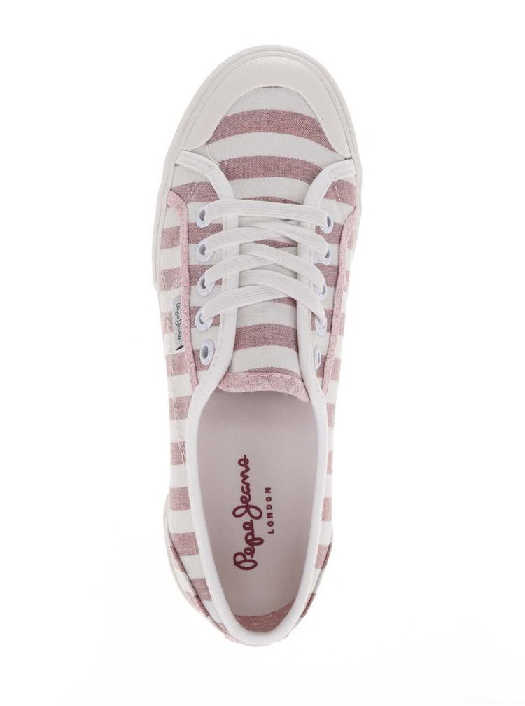 Pantofi sport crem&roșu Pepe Jeans Abernew cu model în dungi