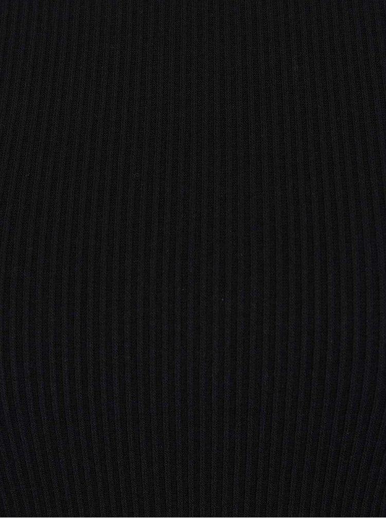 Černé žebrované minišaty s volány na ramenou Miss Selfridge Petites