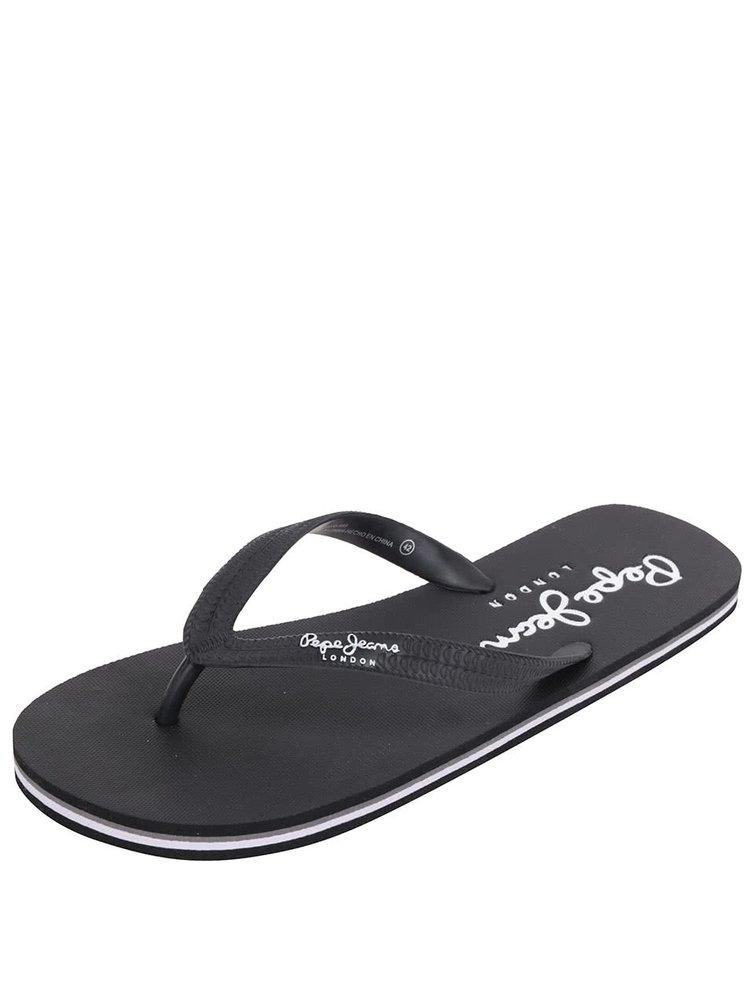 Černé pánské žabky s nápisem Pepe Jeans Swimming