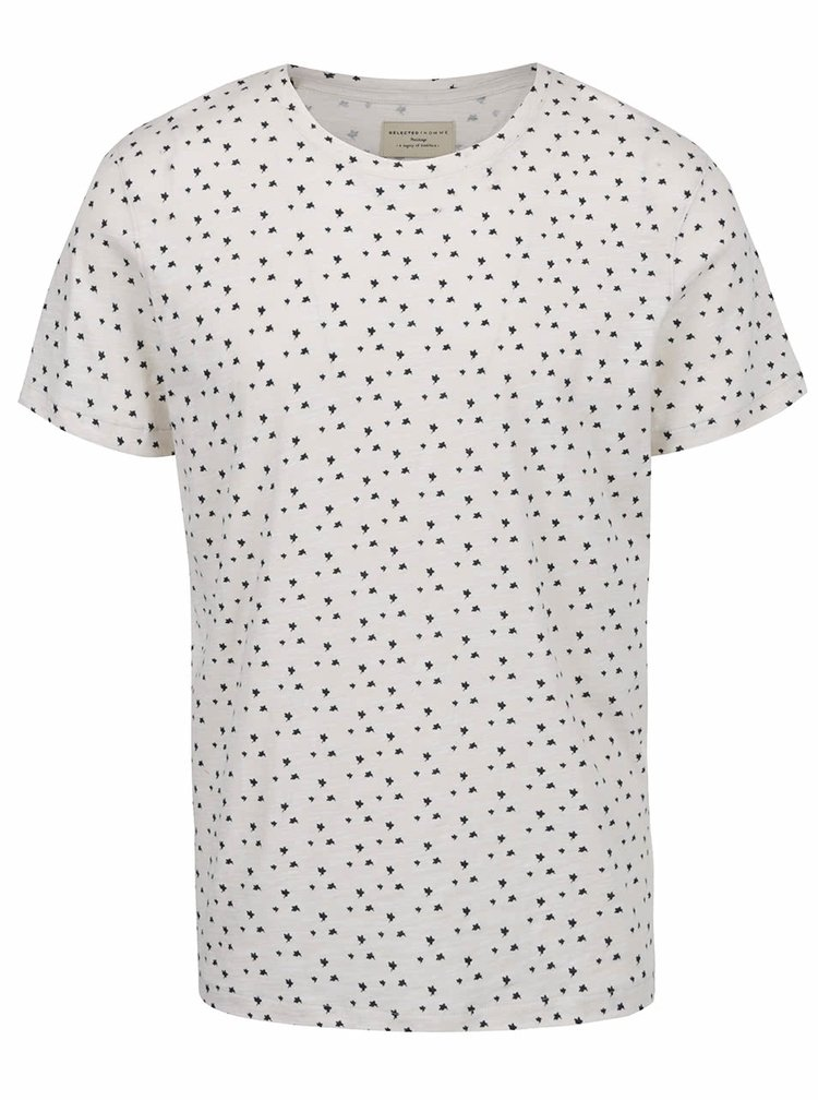 Tricou crem Selected Homme Flower din bumbac cu model