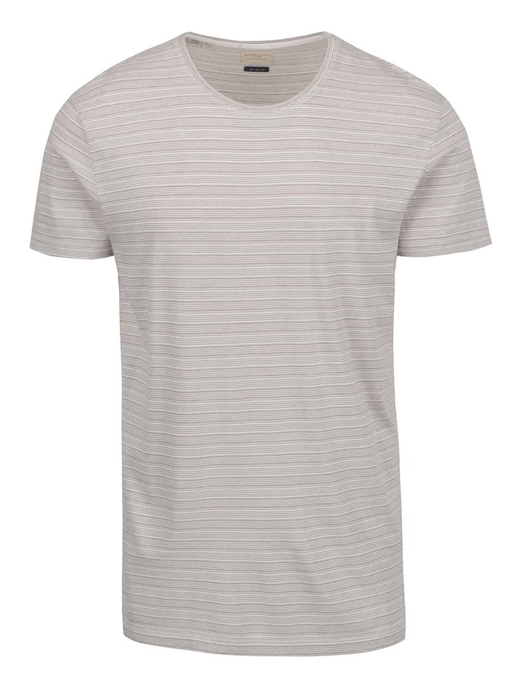 Tricou bej Selected Homme Brice cu model in dungi