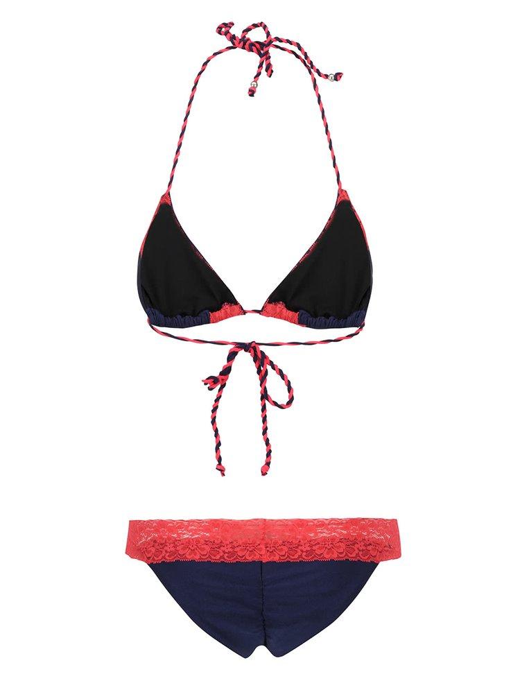 Costum de baie bleumarin Relleciga cu aplicații din dantelă roșie