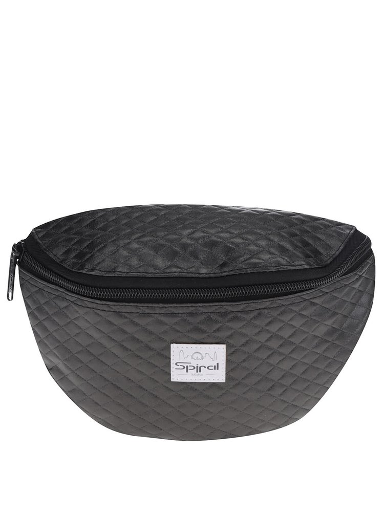 Borsetă matlasată gri închis unisex Spiral Quilted Black cu logo
