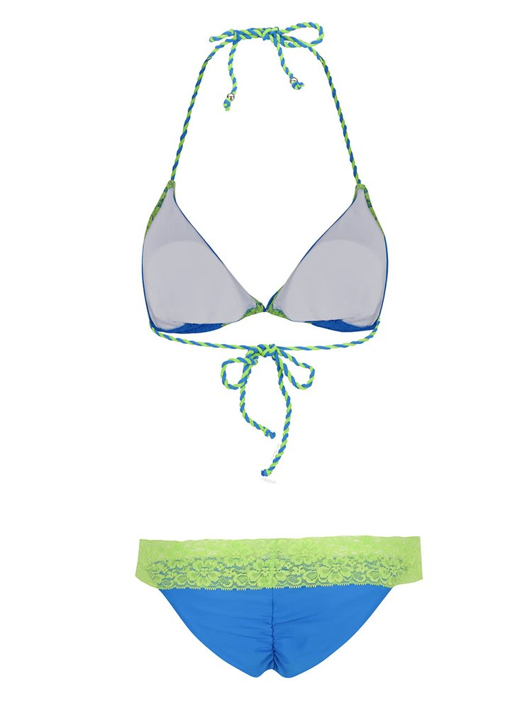 Costum de baie albastru Relleciga cu aplicații din dantelă verde