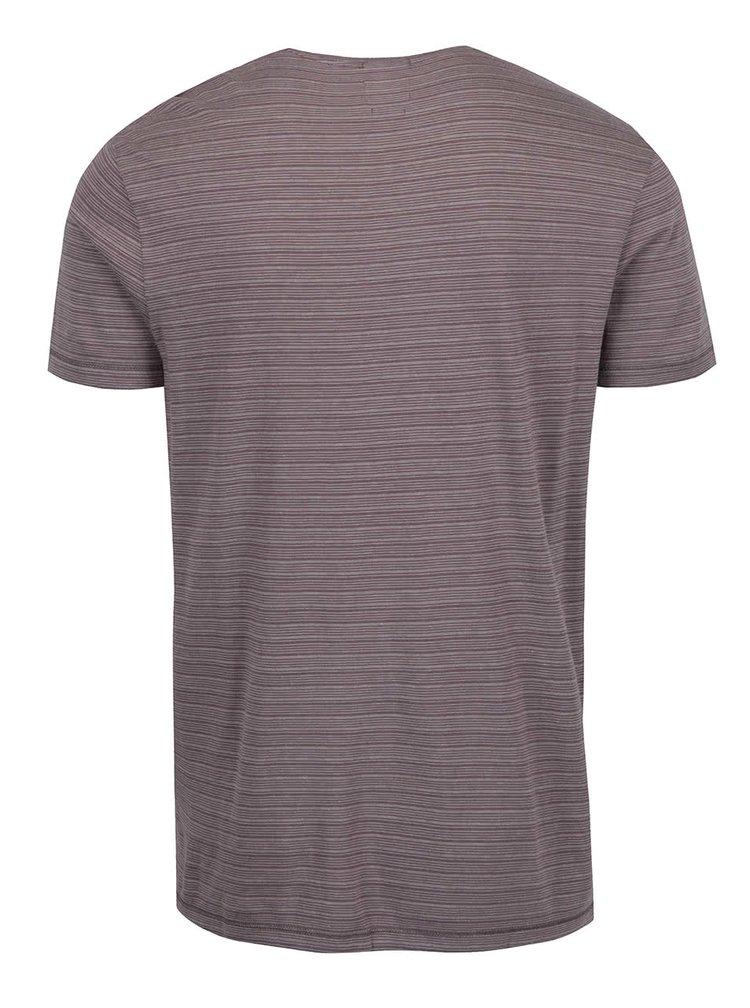 Světle hnědé pruhované triko Selected Homme Brice
