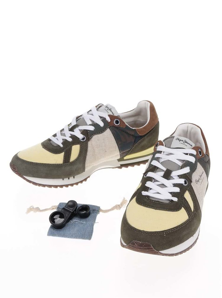 Khaki pánské vzorované tenisky s detaily Pepe Jeans Tinker W11