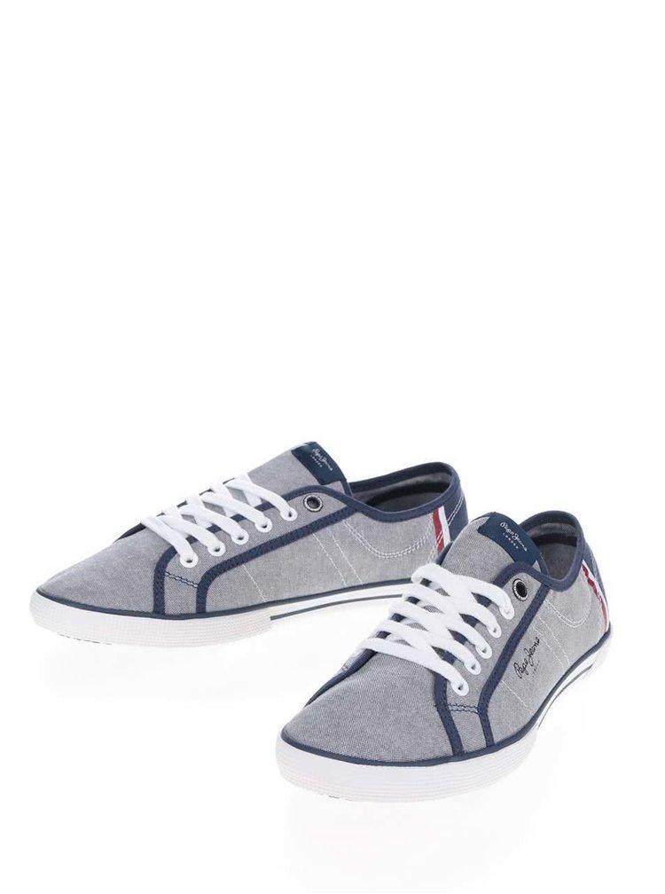 Modro-šedé pánské žíhané tenisky Pepe Jeans Aberman Court