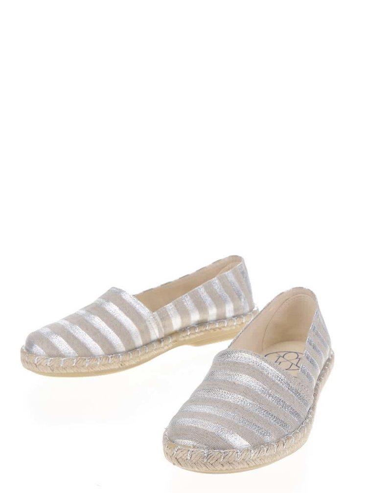 Dámské pruhované espadrilky ve stříbrné a béžové barvě OJJU