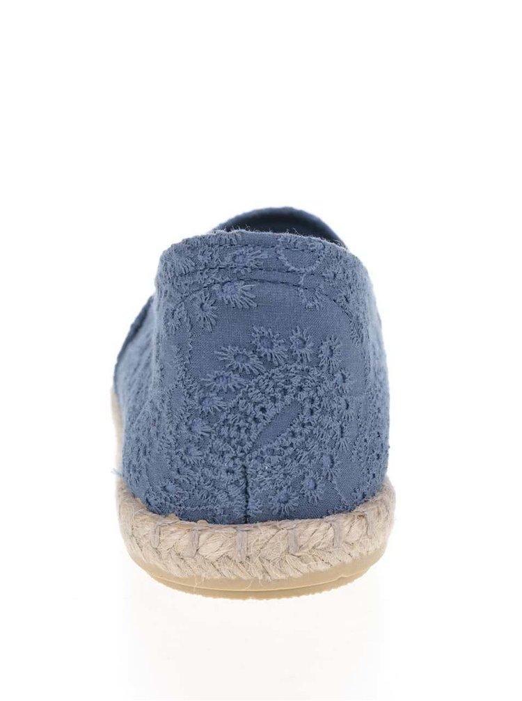 Modré dámské espadrilky s vyšívaným vzorem OJJU