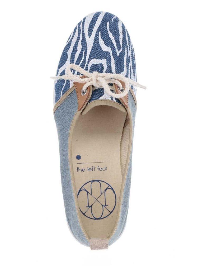 Béžovo-modré dámské vzorované tenisky s tkaničkami OJJU