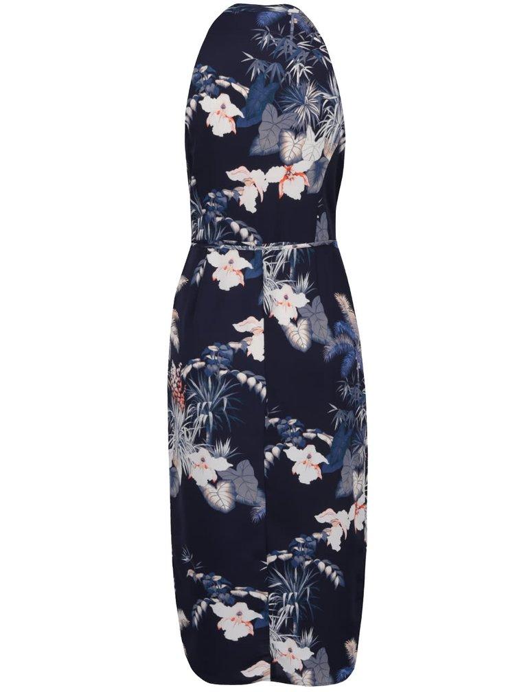 Tmavě modré zavinovací květované midišaty Miss Selfridge
