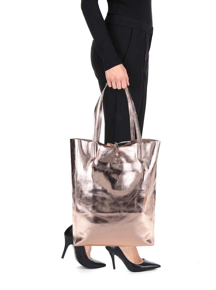Kožený lesklý shopper v růžovozlaté barvě ZOOT Simple