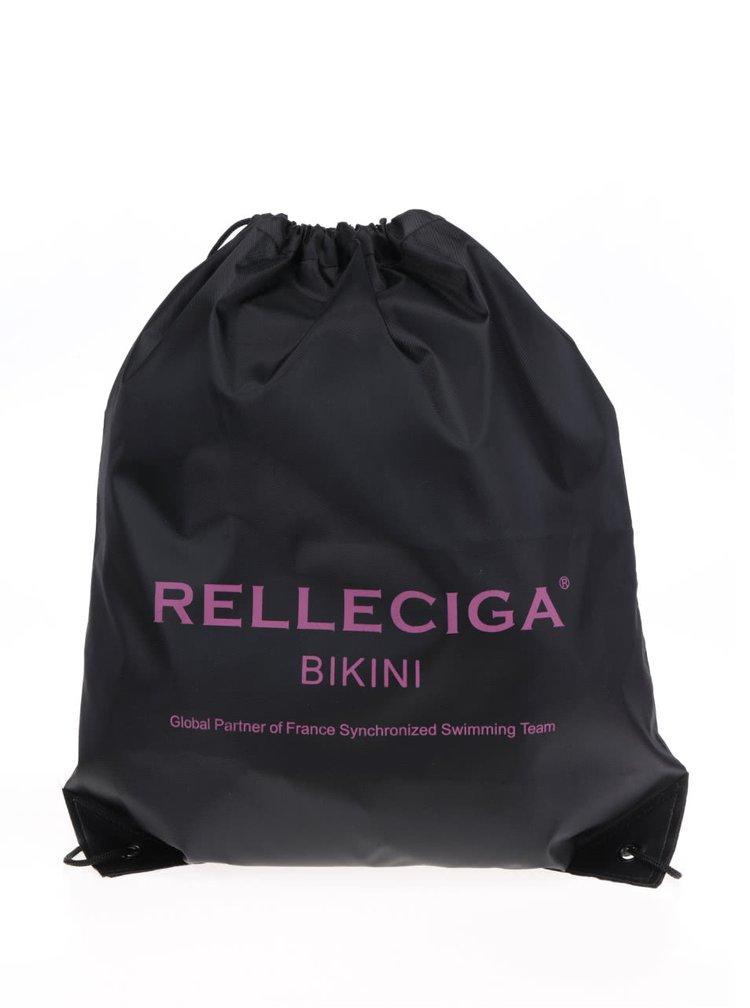 Černo-růžové jednodílné vzorované plavky s odhalenými zády Relleciga