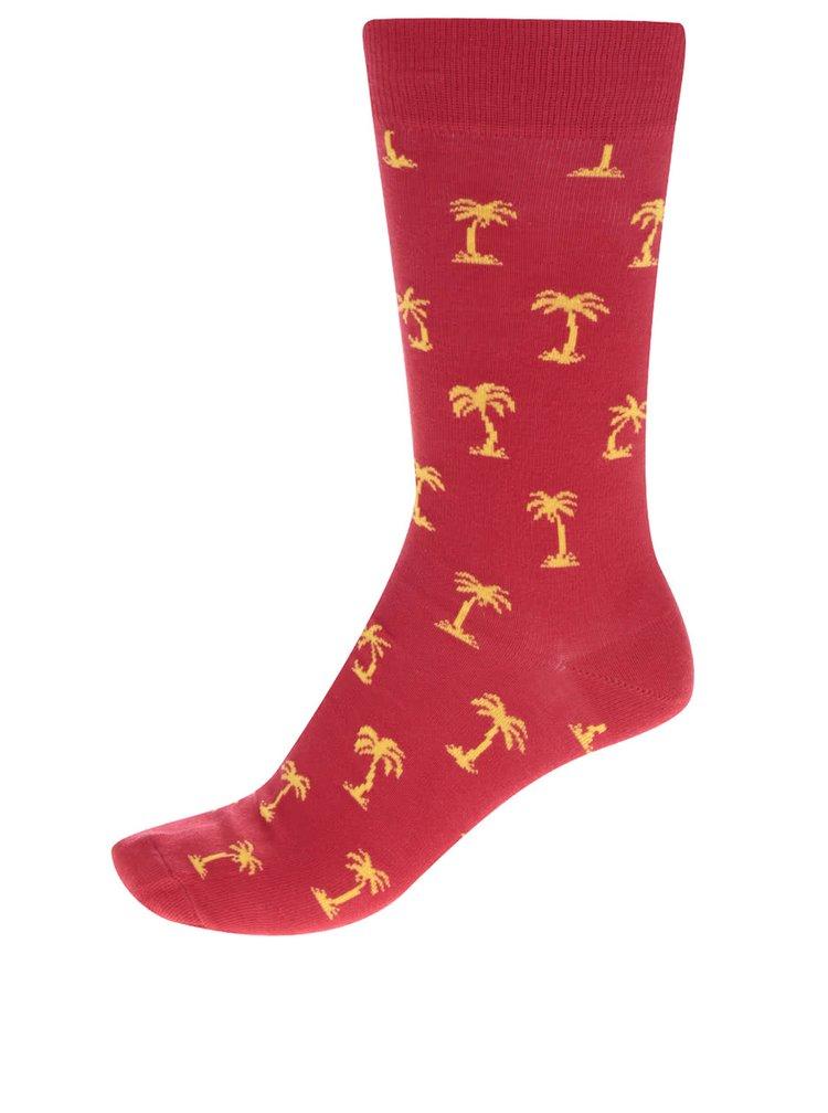 Červené vzorované pánské ponožky Happy Socks