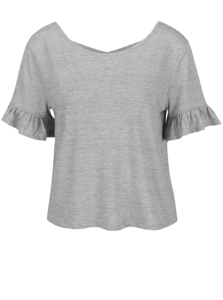 Top crop gri Miss Selfridge cu dungi