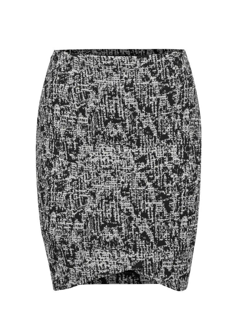 Fusta alb&negru Miss Selfridge cu model grafic
