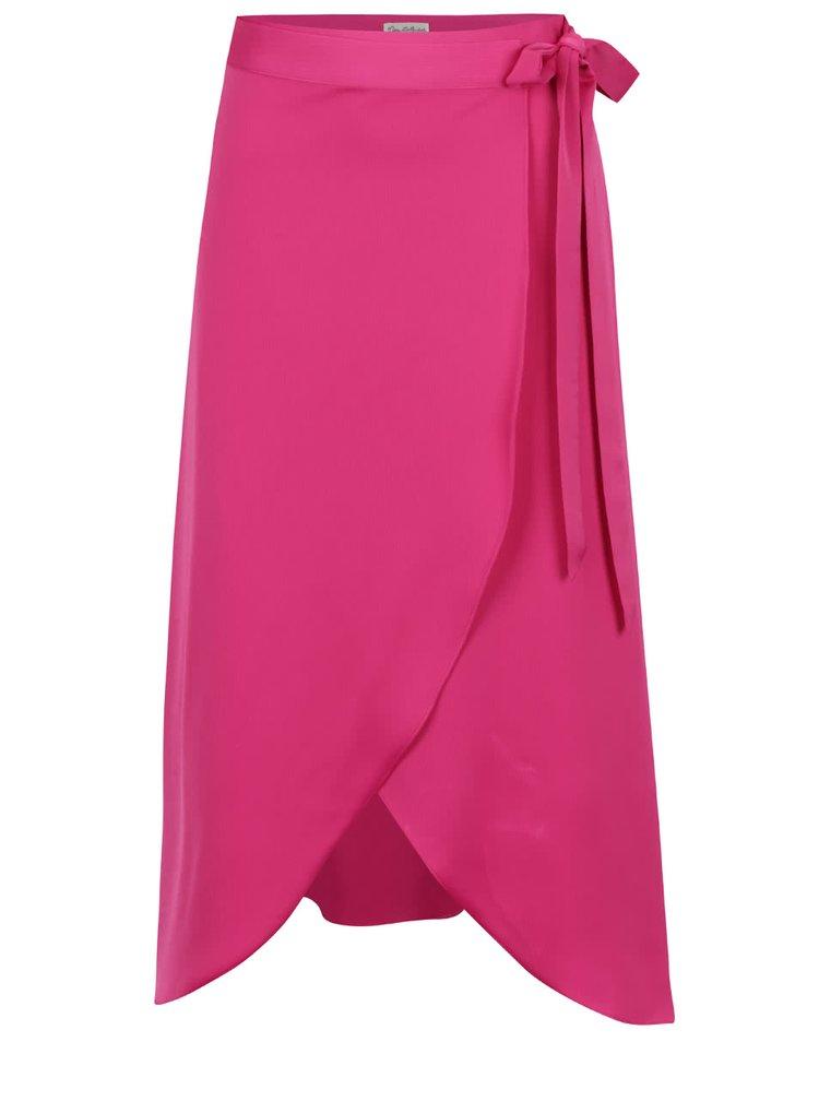 Fustă roz Miss Selfridge cu panglică în talie