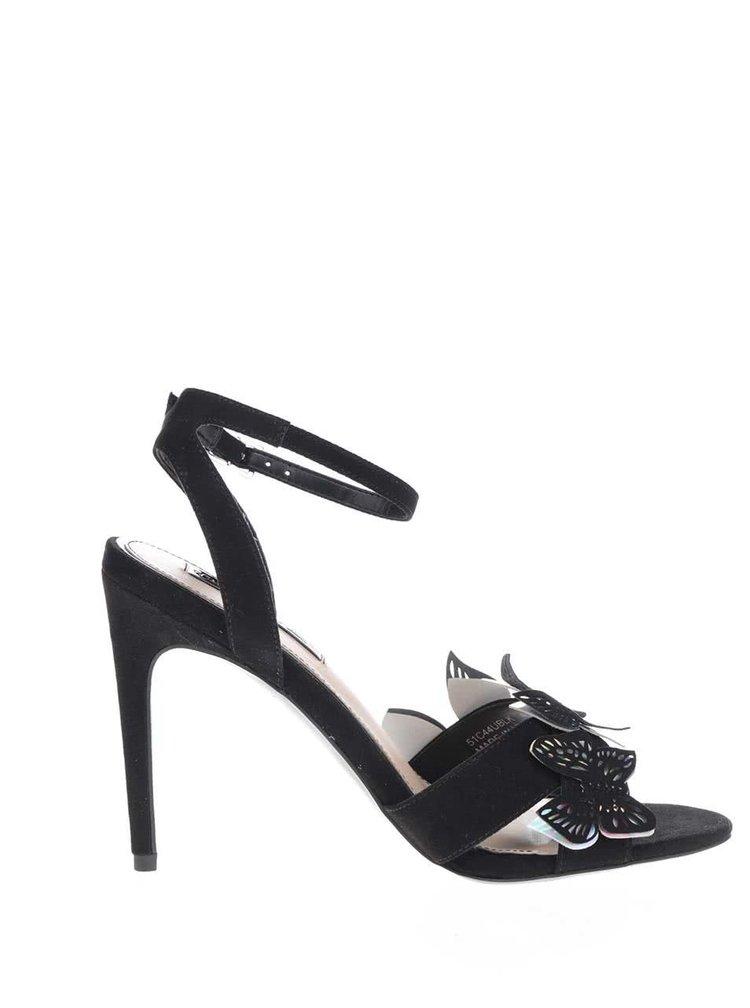 Sandale negre Miss Selfridge cu fluturi