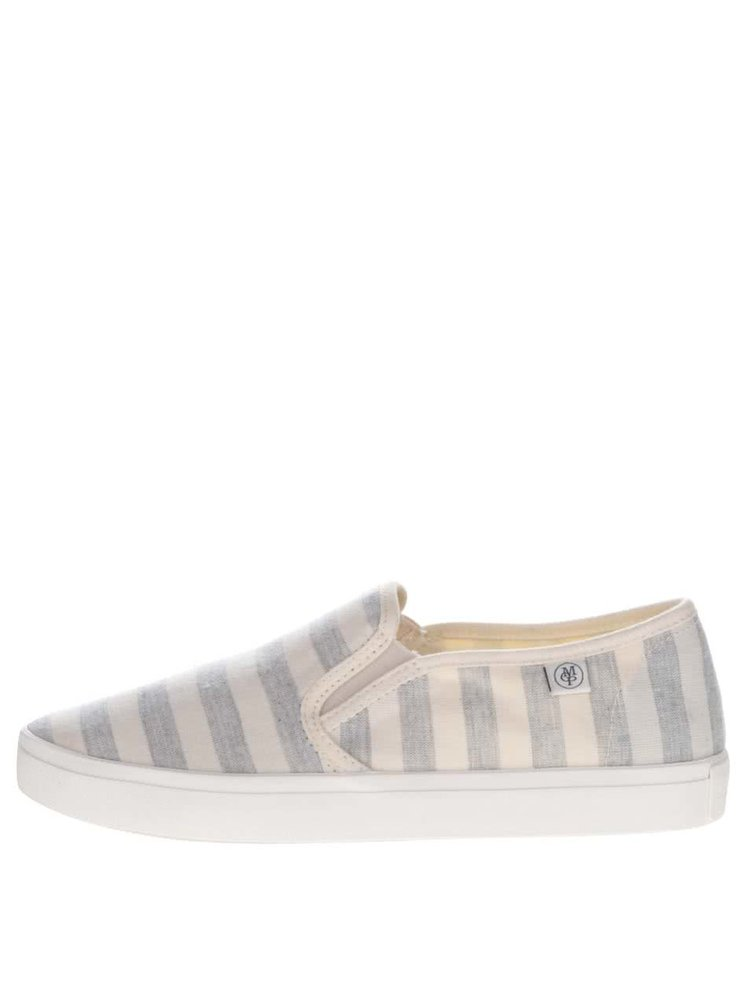 tenisi slip on crem&gri Marc O'Polo cu model in dungi