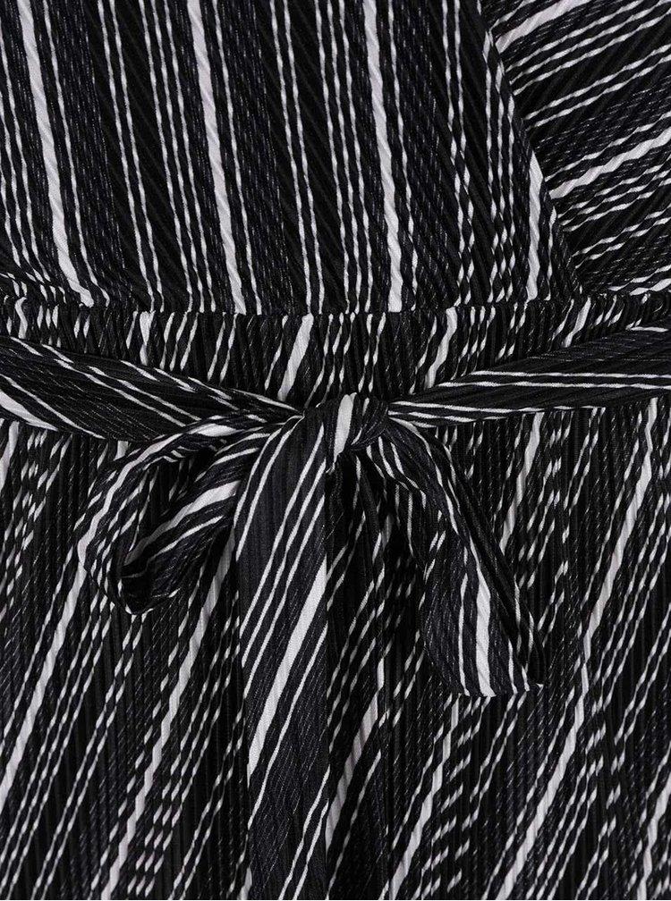Černé vzorované šaty s překládaným výstřihem Miss Selfridge